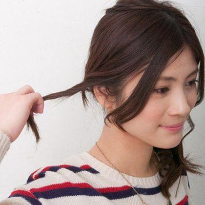 日系侧马尾发型简单扎法图解作品图